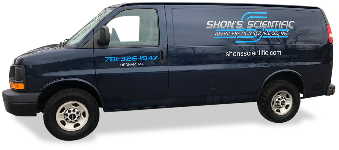Shon's navy blue Van with Logo on the side